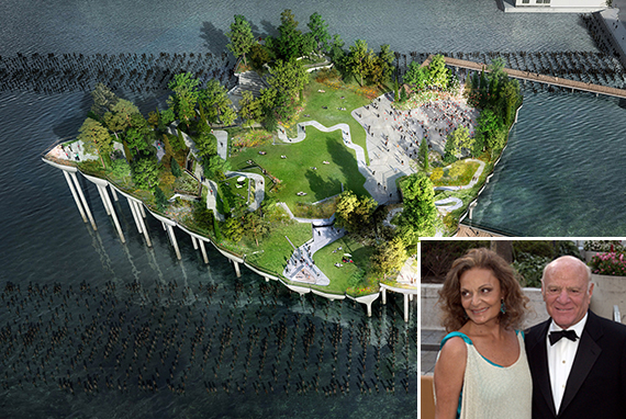 Rendering of the island park (inset: Barry Diller and Diane Von Furstenberg)