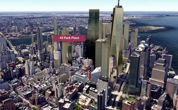 """A visualization of the """"new Downtown"""" skyline with 45 Park Place (Credit: CityRealty)"""