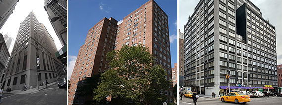 63 Wall Street in the Financial District, Savoy Park in Harlem and 160 West 24th Street in Chelsea