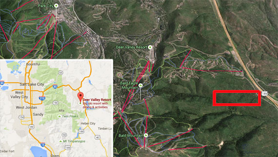 A map of the Deer Valley area near Park City, with the approximate location of Barnett's site outlined in red.