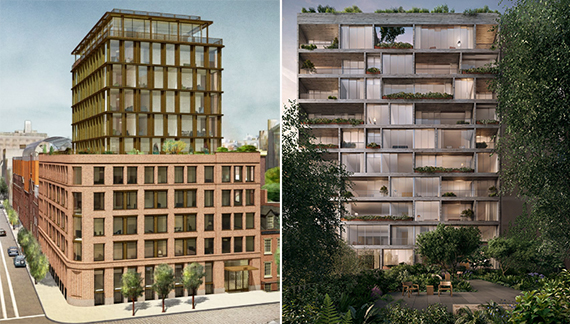 From left: rendering of 100 Barrow Street and The Jardim at 527 West 27th Street