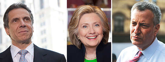 From left: Gov. Andrew Cuomo, Hillary Clinton and Mayor Bill de Blasio