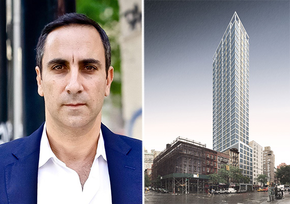 From left: Erez Itzhaki and rendering of 368 Third Avenue in Kips Bay (credit: SLCE)