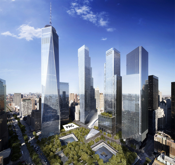 Rendering of the future Performing Arts Center at the World Trade Center. (credit: DBOX)