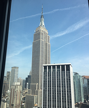 View of Empire State Building from 38th floor of