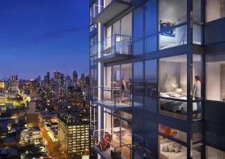 """A rendering Moinian's """"Sky"""" rental building at 605 West 42nd Street"""