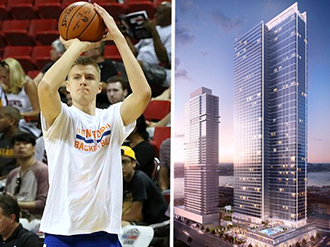From left: Kristaps Porzingis (credit: Wikipedia) and 605 West 42nd Street