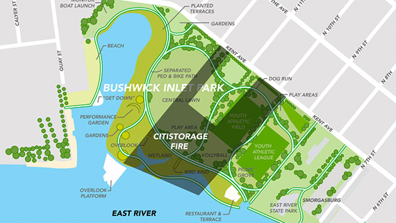 Map of Bushwick Inlet Park and the CitiStorage site