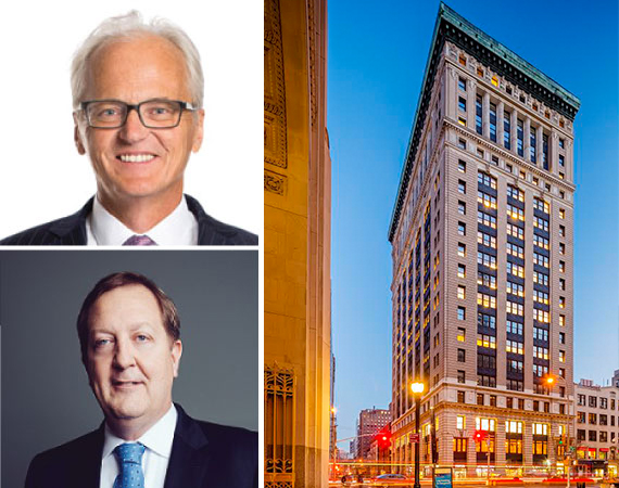 315 Park Ave South in NoMad (inset from top: Winton Capital's David Harding and Columbia Property Trust's Nelson Mills)