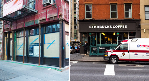 Vacant lot in Soho and Starbucks on 96th Street
