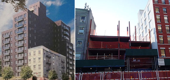 From left: Rendering of 208 Delancey Street and the construction site now