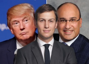 From left: Donald Trump, Jared Kushner and Aryeh Bourkoff