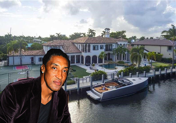 Scottie Pippen and the Fort Lauderdale estate (credit: Getty Images and Coldwell Banker)