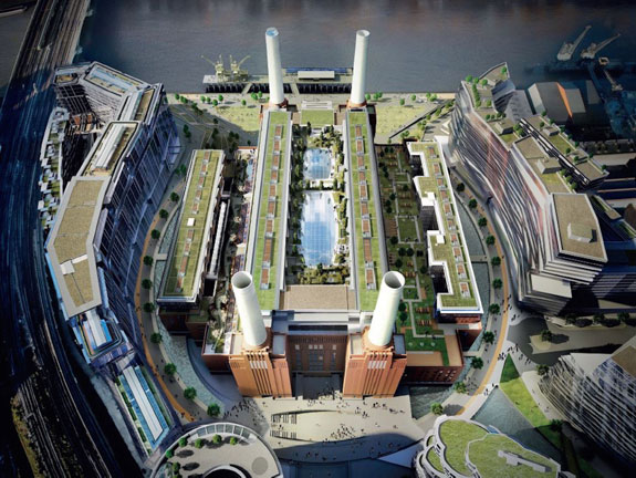 A rendering of the renovated Battersea Power Station, set to open in 2021, in London.
