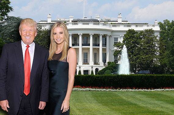 Ivanka and Donald Trump (credit: Getty Images) and the White House