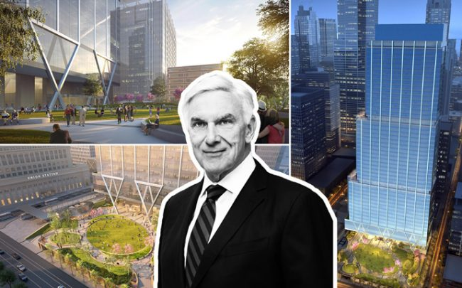 Riverside CEO John O'Donnell and renderings of the new Union Station plans (Credit: Riverside Investment & Development)