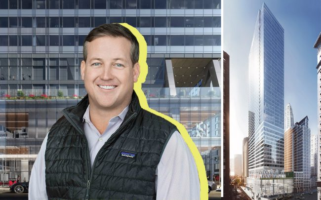 Renderings of 300 North Michigan Avenue and Sterling Bay CEO Andy Gloor (Credit: bKL Architecture)