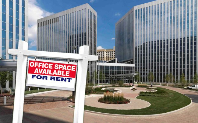 Vacancy rate are rising and rental rates are dropping in the suburban office market. Pictured: Presidents Plaza
