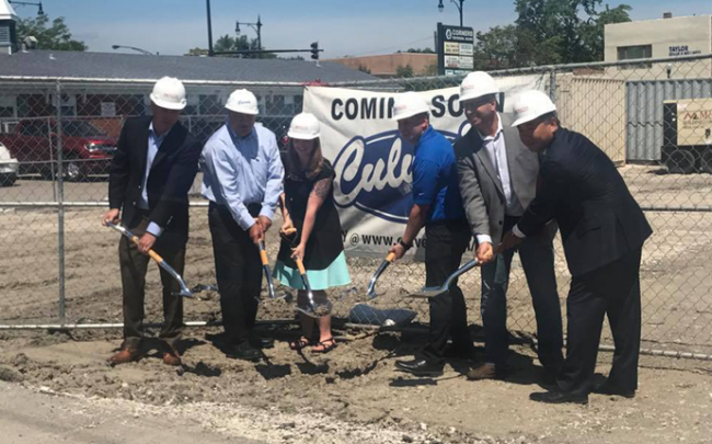 Cui (far right) and local officials breaking ground on a new Culver's on Cui's property, 4943 West Irving Park Road (Credit: Twitter)