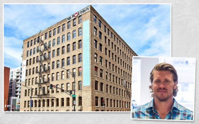 PerkSpot founder Chris Hill and 320 West Ohio Street (Credit: 42 Floors)