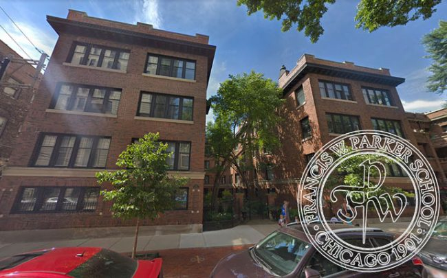 327 West Belden Avenue and Francis W. Parker School crest (Credit: Google Maps and Facebook)