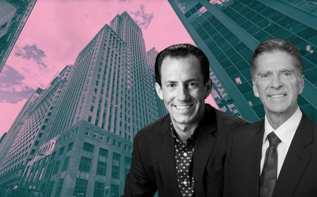 From left: 33 North LaSalle, CommonGrounds CEO Jacob Bates, John Buck Company CEO John Buck (Credit: Google Maps, Twitter, and The John Buck Company)