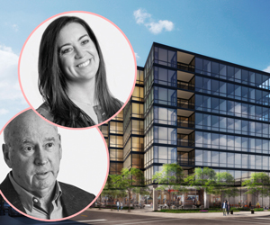 Optima CEO David Hovey Sr. and COO Tara Hovey with renderings of Optima Lakeview (Credit: Optima and 44thward)
