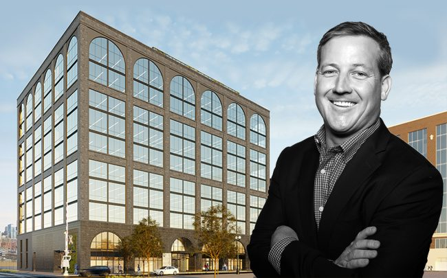 Sterling Bay CEO Andy Gloor and a rendering of 345 N. Morgan St. (Credit: Sterling Bay, Cara)