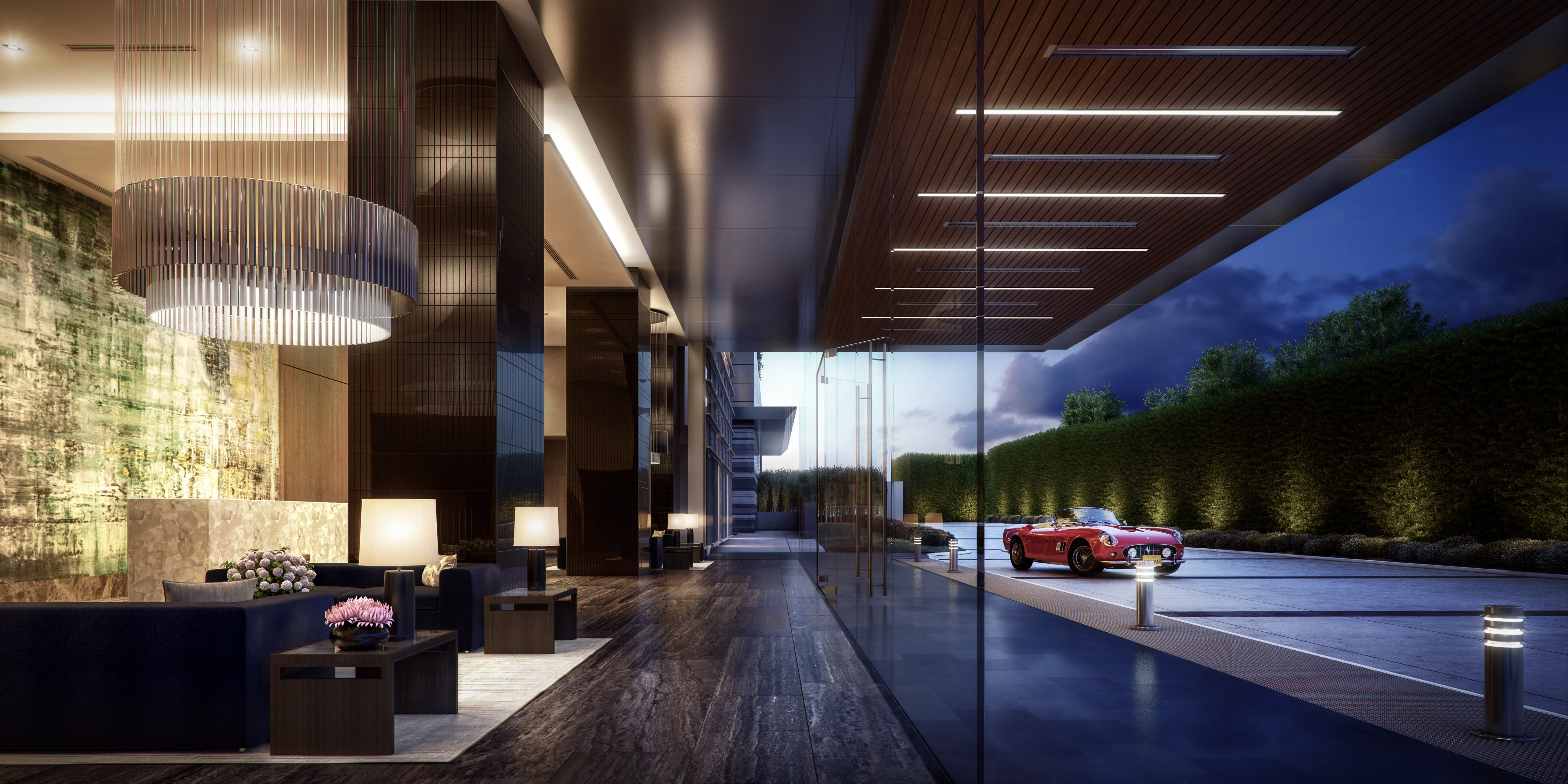 A rendering of the lobby