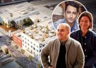 From left: Sweetgreen co-founders Jonathan Neman, Nicolas Jammet and Nathaniel Ru; and a rendering of 3101 Exposition Boulevard