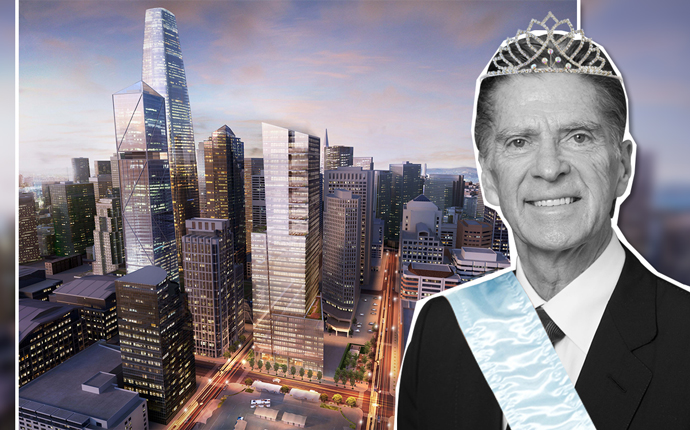 John Buck and a rendering of his firm's Park Tower at Transbay project