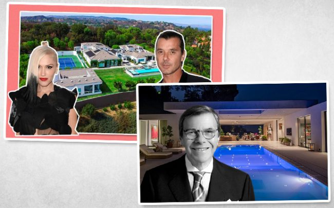 Gwen Stefani, Gavin Rossdale, and their former home in Beverly Hills Post Office, and Jay Stein with his home in Beverly Hills