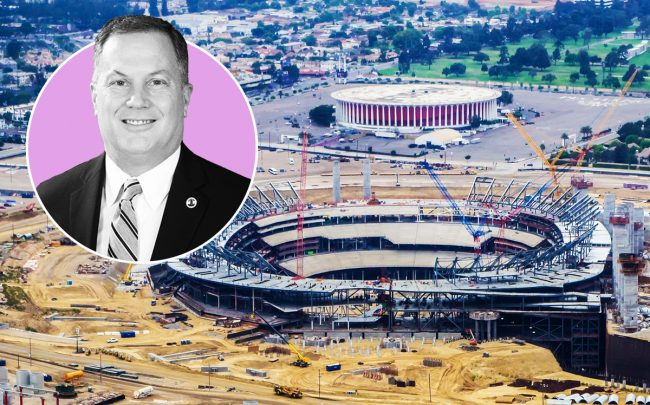 LA County Assessor Jeff Prang and the future NFL stadium in Inglewood in June 2018 (Credit: Ron Reiring/Flickr)