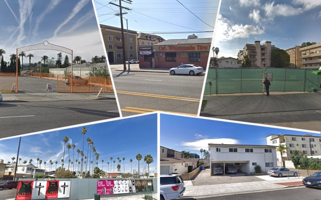 Clockwise from top left: 1141 S. Crenshaw Boulevard, 719 S. Hoover Street, 411 S. Hamel Road, 1721 S. Colby Avenue and 3839 W. Washington Boulevard (Credit: Google Maps)