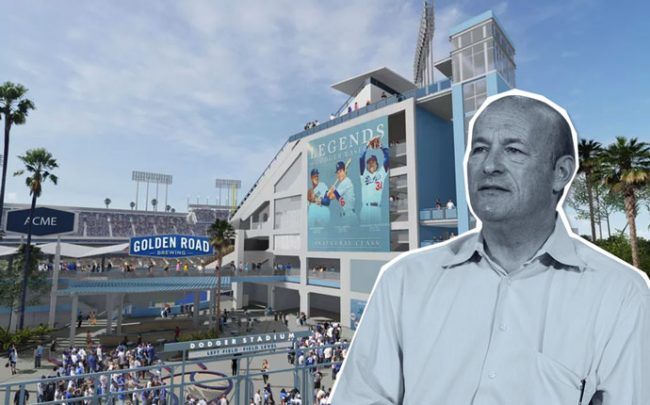 Los Angeles Dodgers President Stan Katsen and a rendering of Centerfield Plaza (credit: Los Angeles Dodgers)