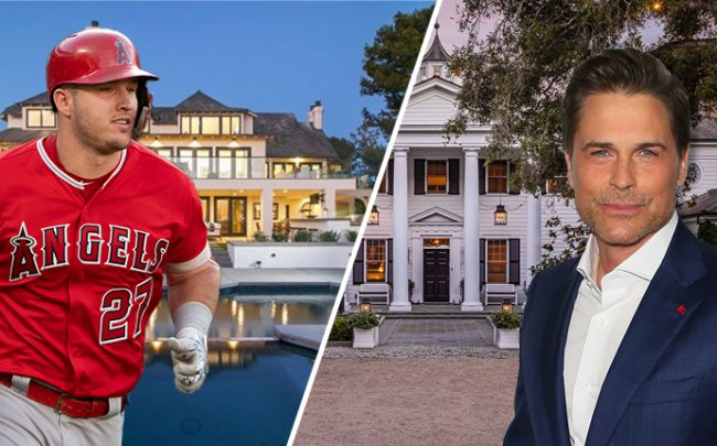 Mike Trout and his home at Harbor Ridge and Rob Lowe and home in Montecito