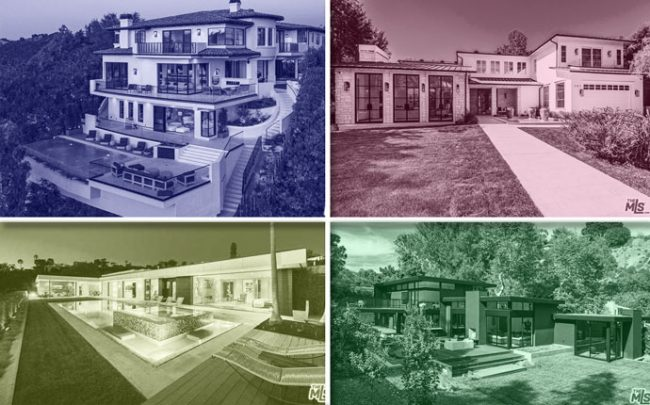 From top left, clockwise: 141 South Cliffwood Avenue, 1469 Bel Air Road, 921 Rivas Canyon Road, and 521 Chalette Drive