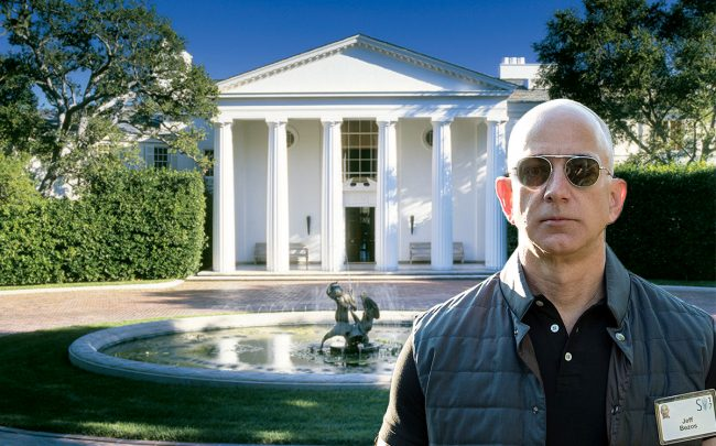 Amazon CEO Jeff Bezos with the home (Credit: Pintrest and Getty Images)