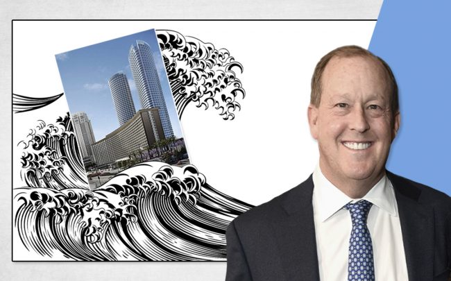 Michael Rosenfeld and a rendering of Century Plaza (Credit: Presley Ann/Getty Images for THR)