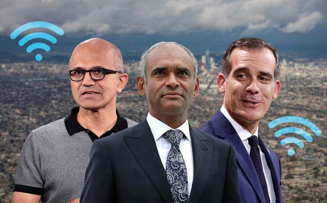 Satya Nadella, chief executive officer of Microsoft, Starry Internet CEO Chet Kanojia, and Los Angeles Mayor Eric Garcetti (Credit: Drew Angerer/Getty Images, Alex Wong/Getty Images, and Gabriel Rossi/Getty Images)