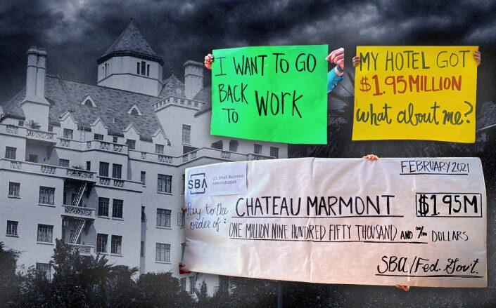 The Chateau Marmont and protest signs