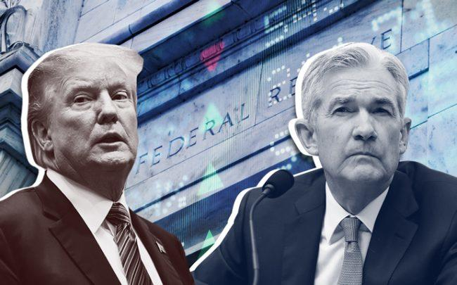 President Trump, Federal Reserve chairman Jay Powell, and the Federal Reserve (Credit: Getty Images and iStock)