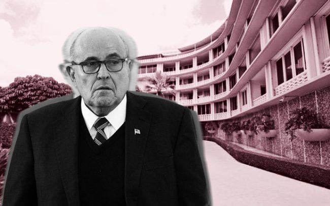 Rudy Giuliani and the condo building (Credit: Getty Images and Redfin)