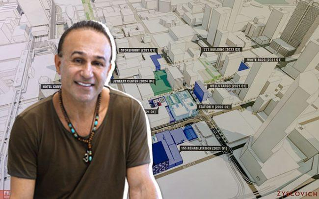 Moishe Mana and a map of the project