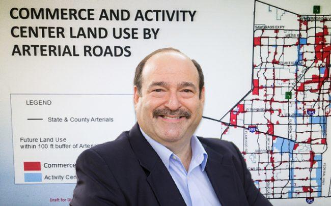 """Commissioner Steve Geller and map showing areas of Broward County designated as """"commerce"""" and """"activity center"""""""
