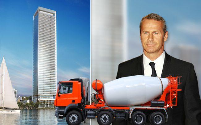 Rendering of Missoni Baia with a concrete truck and Vlad Doronin (Credit: Getty Images and iStock)
