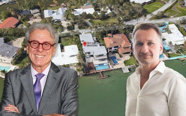 Patricio Wills of Televisa Studios, Pascal Nicolai, of Sabal Development, and 7311 Belle Meade Island Drive (Credit: Astrid Stawiarz/Getty Images, Google Maps)