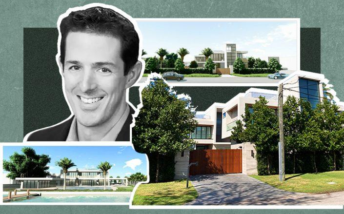 Gabe Plotkin with a photo of his Miami Beach home and renderings of the planned expansion (Photography by Ina Cordle, renderings via CFZ Design)