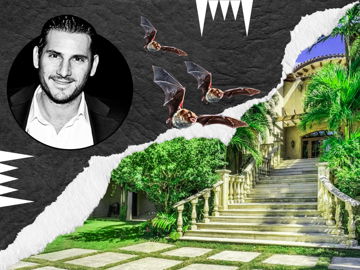 Heath Freeman, managing director of Alden Global Capital, and the house at 3503 Lodge Drive in Coconut Grove, Miami (Getty, Compass / Brown Harris Stevens)