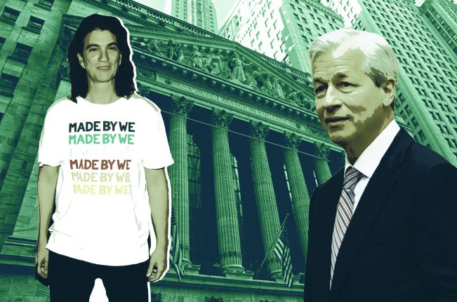 WeWork CEO Adam Neumann and JPMorgan Chase CEO Jamie Dimon with The New York Stock Exchange